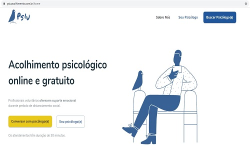 ACOLHIMENTO PSICOLÓGICO GRATUITO JÁ ATENDEU MAIS DE 800 PESSOAS