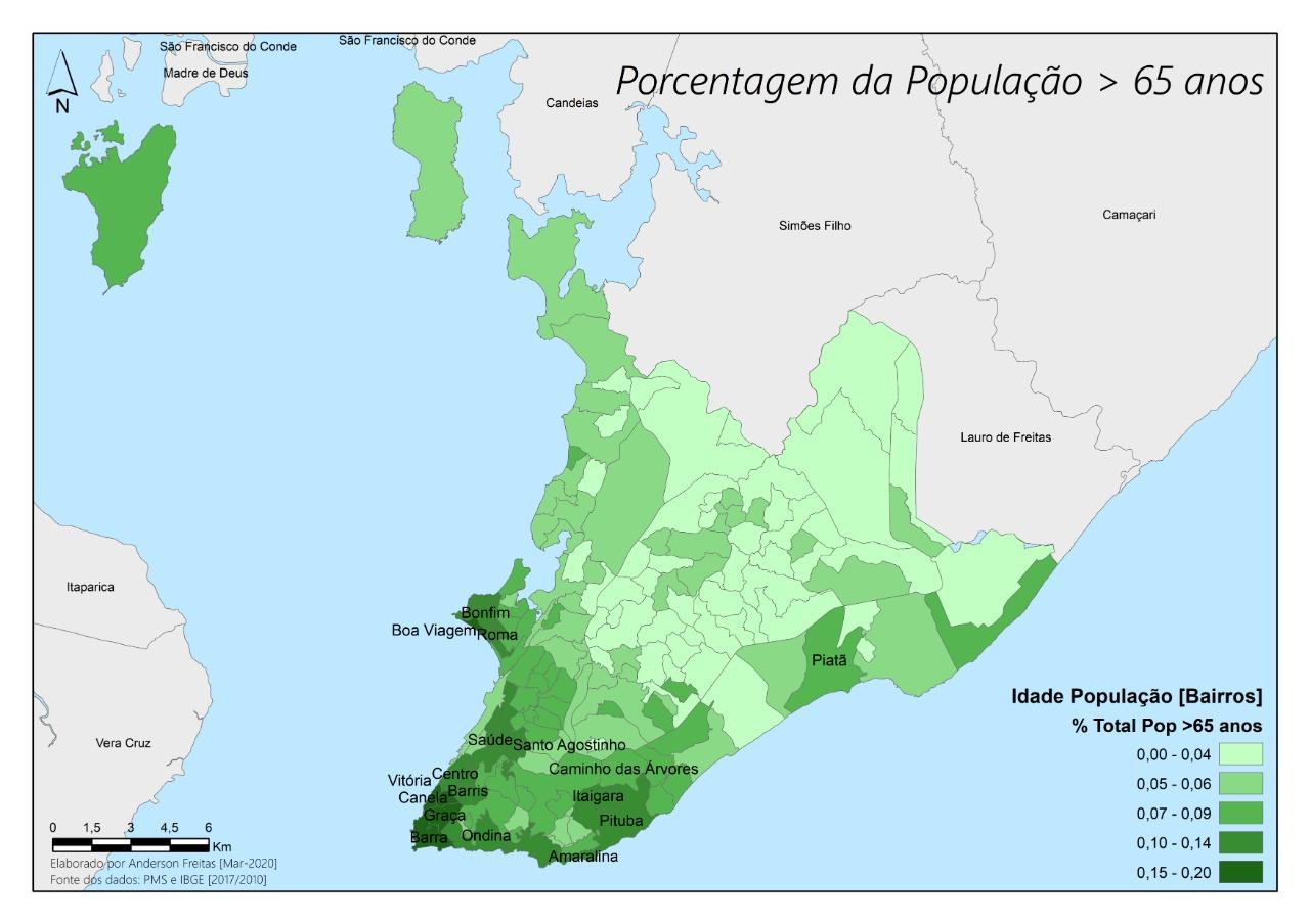 CORONAVÍRUS: VEJA COMO SE DISTRIBUÍ A POPULAÇÃO COM MAIS DE 65 ANOS EM SALVADOR