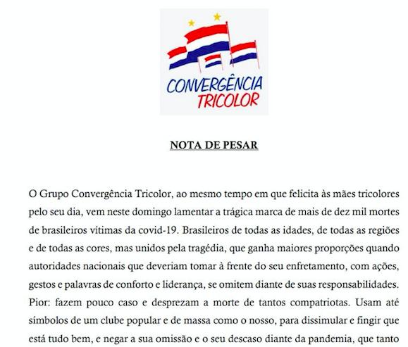 GRUPO COVERGÊNCIA TRICOLOR EMITE NOTA SOBRE O USO DA CAMISA DO BAHIA POR BOLSONARO