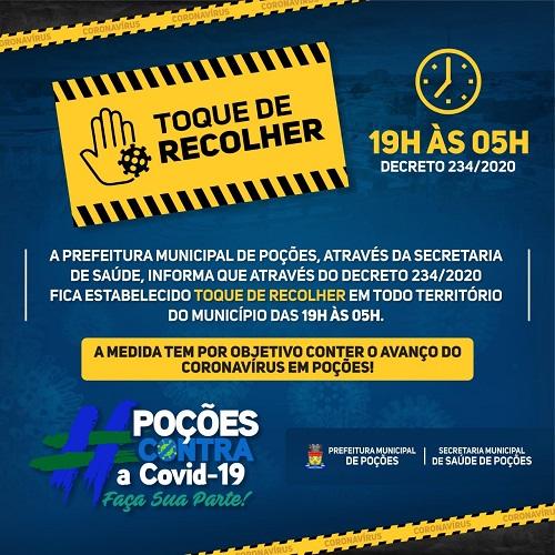 POÇÕES: PREFEITURA DECRETA TOQUE DE RECOLHER NA CIDADE
