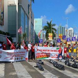 DIA DO TRABALHADOR: CENTRAIS SINDICAIS REALIZAM PROTESTO NA AVENIDA ACM